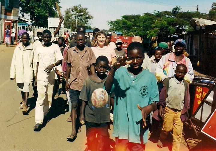 Audrey with street boys